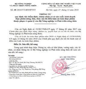 Thông tư số 38/2018/TT-BNNPTNT ngày 25/12/2018 thay thế Thông tư số 45/2014/TT-BNNPTNT ngày 03/12/2014 của Bộ Nông nghiệp và PTNT