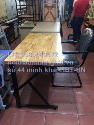 bàn làm việc chân sắt CK1406 gỗ tự nhiên