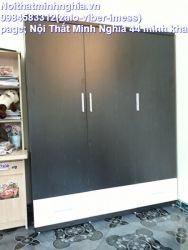 tủ áo gỗ công nghiệp 160cm đen sần pha trắng ngăn kéo