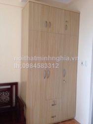 tủ áo gỗ công nghiệp 160x240 cm chia 2 tầng cánh màu vân lim