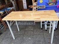 bàn chân sắt gấp mặt gỗ cao su tự nhiên