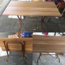 bàn chân sắt gấp chéo mặt gỗ công nghiệp
