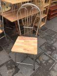 ghế gấp khung inox mặt gỗ cao su