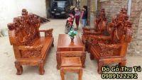 Bộ Bàn Ghế Rồng Đỉnh Khuỳnh 3 khoang  gỗ hương vân cột 12