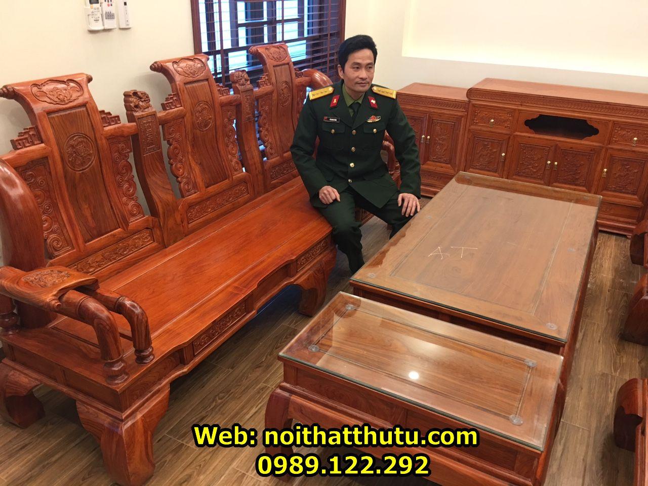 Bộ Bàn Ghế Tần Thủy Hoàng Tay 12 Gỗ Hương Đá._result