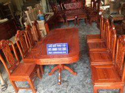 Bộ Bàn Ăn Chữ Nhật Gỗ Hương Gồm 8 ghế