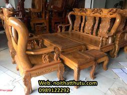 Bộ Bàn Ghế Quốc Đào gỗ Lim Cột 12