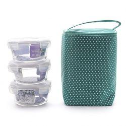Bộ 3 hộp thủy tinh tròn và túi giữ nhiệt Lock&Lock LNL02 (Nhiều màu)