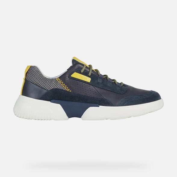 Giày Sneaker Thể Thao Geox Patent Da Mềm Màu Navy Big Size Men
