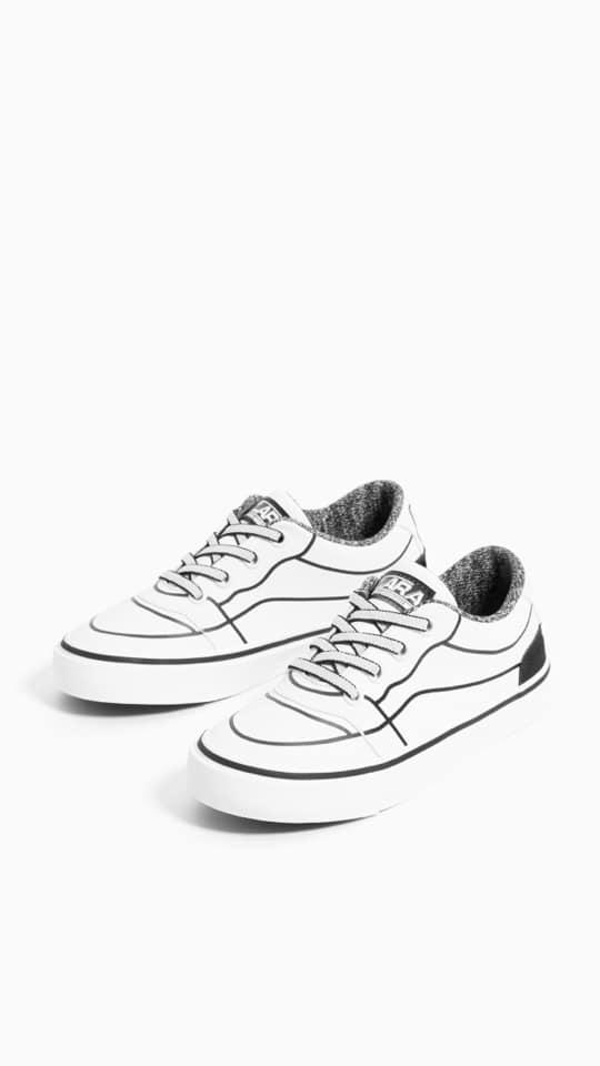 Sneaker Z.a.R.a Trắng Viền Sóng Đen