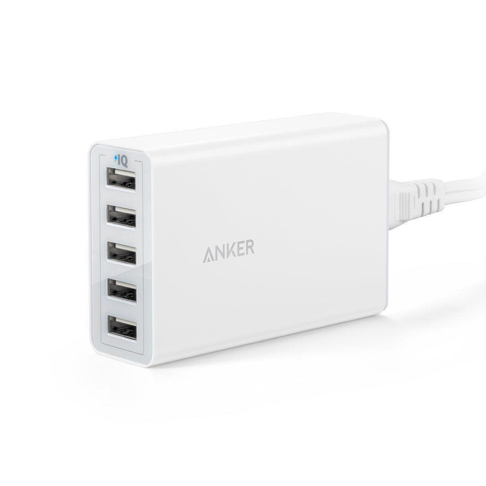 Sạc Anker 5 cổng USB 40W (PowerIQ Technology x5) - Trắng