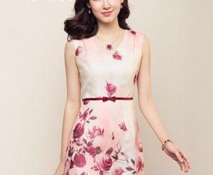Đầm suông họa tiết hoa hồng cao cấp