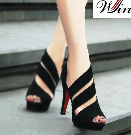 Giày cao gót nữ đan 2 vòng