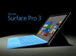 Máy tính bảng MS Surface Pro 3' RAM 8 GB, SSD 256 GB, core  I7 4650U 1.7 Ghz, Turbo 2.3
