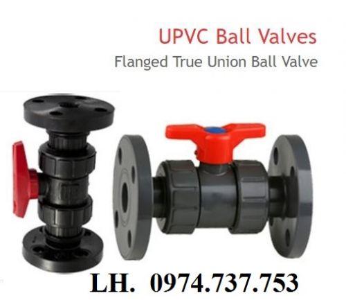 """Van bi nhựa mặt bích uPVC, cPVC, ball valve flange end 1/2"""" - 4"""","""