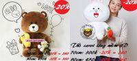 Gấu bông Brown ôm vịt Sally/ Cony cầm carot (70cm,90cm)