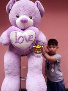 Gấu bông ôm tim màu tím siêu xinh (1m7)