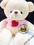 Gấu bông teddy Hana áo tim hồng (1m2, 1m5)