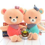 Gấu bông quàng khăn áo hồng/ xanh (60cm)