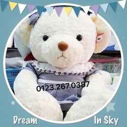 Gấu đầm caro xanh cổ yếm viền (1m3)