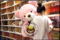 Gấu hồng teddy lông siêu mịn ruy băng (1m2, 1m4, 1m5)