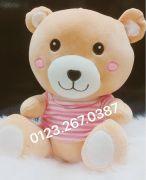 Gấu bông áo sọc hồng lông 3D (60cm)