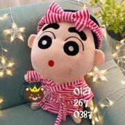 Gấu bông Shin mặc đồ tắm sọc hồng (40cm, 80cm, 1m, 1m2, 1m5)