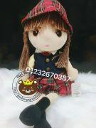 Gấu bông búp bê mái ngố váy caro nón (40cm, 60cm)