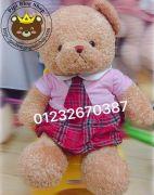 Gấu bông teddy baby váy caro hồng 80cm