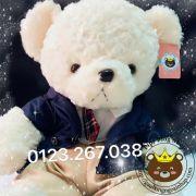 Gấu bông teddy trắng áo vest xanh (60cm, 80cm, 1m2)