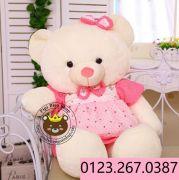 Gấu đầm yếm chấm bi tim xanh/ hồng (1m2)