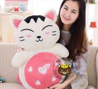 Mèo bông may mắn thần tài màu hồng (65cm)