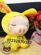 Heo bông nón thỏ màu vàng Hugsbaby Thái lan (65cm)