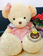 Gấu đầm vàng váy caro hồng (1m3)