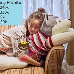 Gấu bông - Chó sói Hachiko (80cm, 1m, 1m2, 1m4)