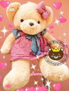 Gấu đầm nâu váy chấm bi (1m1)