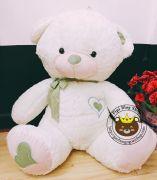 Gấu bông teddy trắng ngực tim xanh lá (1m3)