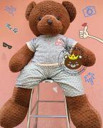 Gấu bông teddy pineapple áo quần thêu ABC socola (60cm, 80cm, 1m2, 1m5)