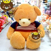 Gấu bông teddy lông vàng áo len cờ Anh (1m5)