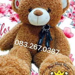Gấu bông Sweet Kiss nơ hoa Chanel (1m, 1m4, 1m7)