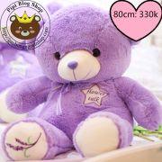 Gấu bông teddy tím Flower Talk (80cm)