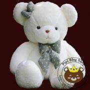 Gấu bông teddy lông trắng siêu mịn nơ chấm bi (1m3)