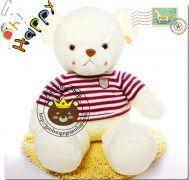 Gấu bông teddy lông trắng siêu mịn áo len (1m3)