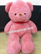 Gấu bông teddy lông mịn hồng (80cm, 1m, 1m2)