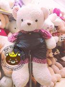 Gấu bông jumsuit yếm hồng lông Thái đẹp (1m2, 1m4)
