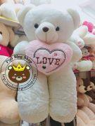 Gấu ôm tim lông siêu mịn trắng (1m4)