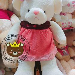Gấu bông teddy áo đầm ren lưới (1m3)