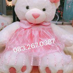 Gấu đầm voan hồng (1m2)