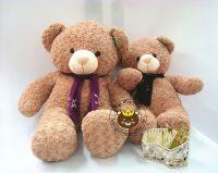 Gấu bông teddy quàng khăn lông xoắn bột mịn (80cm, 1m2, 1m5)