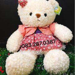 Gấu đầm Thái váy chấm bi (60cm)
